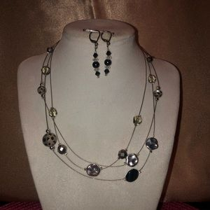Jewelry - Silver/black necklace & earrings set